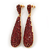Luxury Red Crystal Teardrop Earrings In Gold Plating - 7.5cm Length