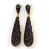 Luxury Black Crystal Teardrop Earrings In Gold Plating - 7.5cm Length