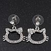 Cute Open Cut Diamante 'Kitten' Drop Earrings In Rhodium Plating - 3cm Length