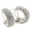 Clear Crystal Creole Earrings In Rhodium Plated Metal - 2.5cm Length