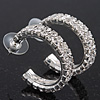 Clear Austrian Crystal Creole Hoop Earrings In Rhodium Plated Metal - 3cm D