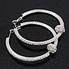 Clear Crystal With Ball Hoop Earrings In Rhodium Plated Metal - 5.5cm Diameter