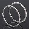 Austrian Crystal Hoop Earrings In Rhodium Plating - 6cm D