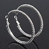Medium Crystal Hoop Earrings In Rhodium Plated Metal - 4.5cm Diameter