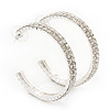 2-Row Clear Crystal Hoop Earrings In Rhodium Plating - 5cm Diameter