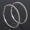 Large Austrian Clear Crystal Hoop Earrings In Rhodium Plating - 6cm Diameter