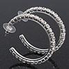 Medium Classic Austrian Crystal Hoop Earrings In Rhodium Plating - 4.5cm D