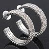 Three-Row Clear Crystal Hoop Earrings In Rhodium Plated Metal - Medium (4.5cm Diameter)