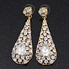 Gold Plated Clear CZ Teardrop Earrings - 6.5cm Length