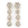 Long Bridal Crystal Floral Drop Earrings - 8.5cm Length