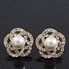 Gold Plated Diamante Faux Pearl Flower Stud Earrings - 2cm Diameter