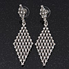 Clear Crystal Diamond Shape Drop Earrings In Rhodium Plating - 6.5cm Length