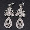 Stunning Crystal Filigree Drop Earring In Silver Plating - 6.5cm Length