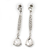 Silver Plated CZ Linear Drop Earrings - 6.5cm Length