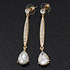 Gold Plated CZ Linear Drop Earrings - 6.5cm Length
