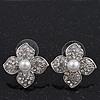 Clear Crystal Simulated Pearl Flower Stud Earrings In Silver Plating - 2cm Diameter