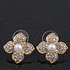 Clear Crystal Simulated Pearl Flower Stud Earrings In Gold Plating - 2cm Diameter