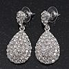 Bridal Clear Diamante Teardrop Earrings In Rhodium Plating - 4cm Length