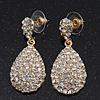 Bridal Clear Diamante Teardrop Earrings In Gold Plating - 4cm Length
