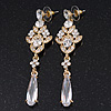 Bridal Clear Cz Chandelier Drop Earring In Gold Plating - 8cm Length