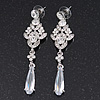 Bridal Clear Cz Chandelier Drop Earring In Rhodium Plating - 8cm Length