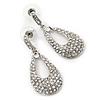 Bridal Crystal Teardrop Earrings In Rhodium Plating - 4cm Length