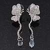Delicate Clear Crystal Butterfly Drop Earrings - 5.5cm Length