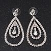 Bridal Clear Crystal Teardrop Earrings In Silver Plating - 5cm Length