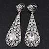 Silver Plated Clear CZ Teardrop Earrings - 6.5cm Length