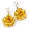 3D Bright Yellow Diamante 'Rose' Drop Earrings In Silver Plating - 5cm Length