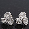 Silver Plated Crystal 'Trinity Circles' Stud Earrings - 1.5cm