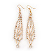 Gold Plated Diamante Chandelier Earrings - 9cm Length