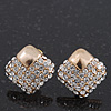 Gold Plated Swarovski Crystal 'Cuadrado' Stud Earrings - 1.3cm