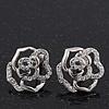 Silver Plated Crystal 'Bella Rosa' Rose Stud Earrings - 1.5cm