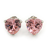Classic Pink CZ 'Heart' Stud Earrings In Rhodium Plating - 11mm Diameter