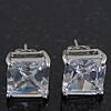Princess-Cut Clear CZ Stud Earrings In Rhodium Plating - 10mm Diameter