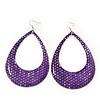 Woven Teardrop Statement Hoop Earrings (Purple) - 10.5cm Length