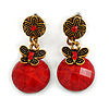 Delicate Red Acrylic Bead Butterfly Drop Earrings In Antique Gold Metal - 4cm Length