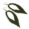 'Eve's Leaf' Dark Green Enamel Drop Earrings In Burn Gold Metal - 12cm Length
