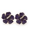 Deep Purple Enamel Diamante 'Daisy' Stud Earrings In Gold Plating - 2cm Diameter