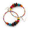 Large Multicoloured Glass & Wood Bead Hoop Earrings In Silver Plating - 8.5cm Length