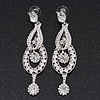 Rhodium Plated Crystal 'Let Me Count the Ways' Chandelier Earrings - 8.5cm Lenth