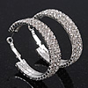Rhodium Plated Clear Three-Row Austrian Crystal Hoops - Medium (4.5cm D)