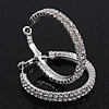 Rhodium Plated Clear Austrian Crystal Double-Hoop (Medium) - 38mm D