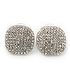 Square Pave-Set Crystal Stud Earrings In Rhodium Plating - 2cm Length