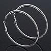 Oversized Slim Clear Crystal Hoop Earrings In Rhodium Plating - 7cm Diameter