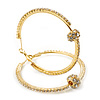 Clear Crystal With Ball Hoop Earrings In Gold Plated Metal - 5.5cm Diameter