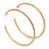 Large Slim Crystal Hoop Earrings In Gold Plating - 7cm Diameter