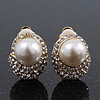 Gold Plated Swarovski Crystal Simulated Pearl Clip On Earrings - 18mm Length
