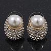 Gold Plated Swarovski Crystal Simulated Pearl Stud Earrings - 18mm Length